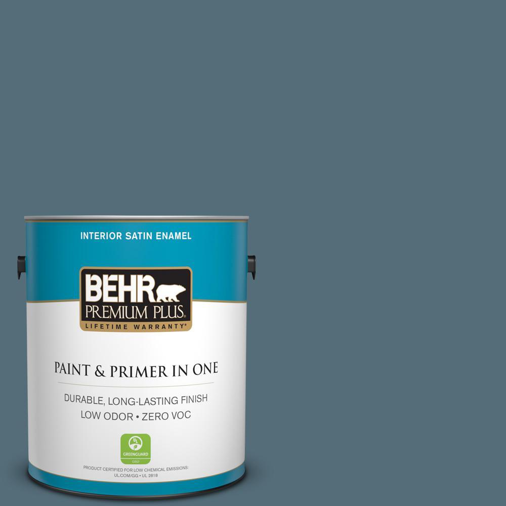 BEHR Premium Plus 1-gal. #N480-6 NYPD Satin Enamel Interior Paint