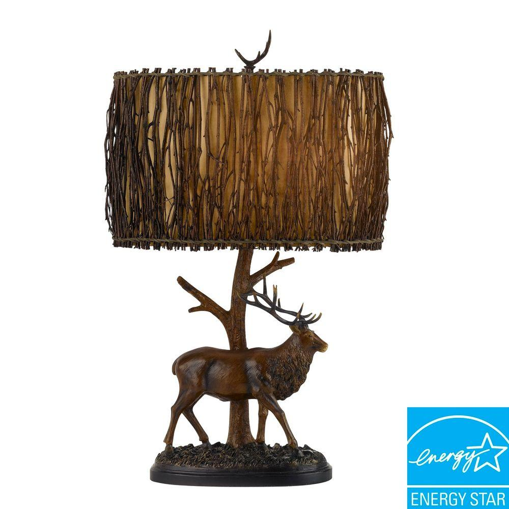 CAL Lighting Elk 28 in. Brownish Resin Table Lamp with Twig Shade