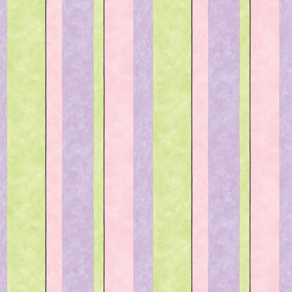 The Wallpaper Company 56 sq. ft. Pastel Contemporary Stripe Wallpaper-DISCONTINUED