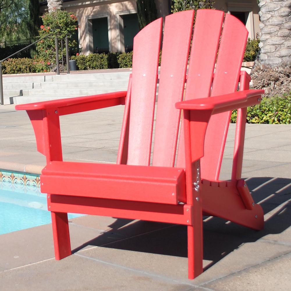 Addison Red Folding Plastic Outdoor Adirondack Chair