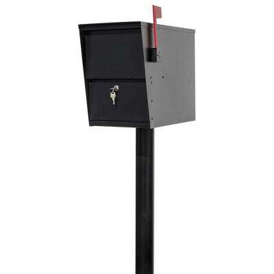 LetterSentry Black Post Mount Locking Mail and Small Parcel Box