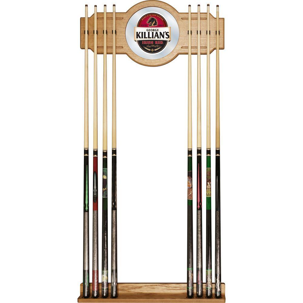 Trademark George Killians 30 in. Wooden Billiard Cue Rack with Mirror