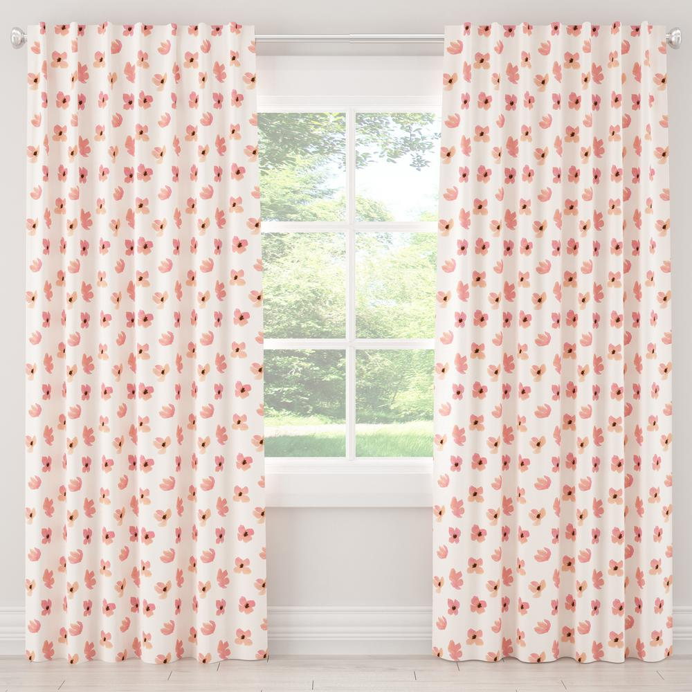 Skyline Furniture 50 in. W x 96 in. L Blackout Curtain in Floating Petals Pink