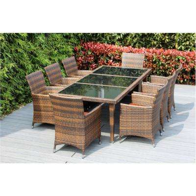 Mixed Brown 9-Piece Wicker Patio Dining Set with Spuncrylic Orange Cushions