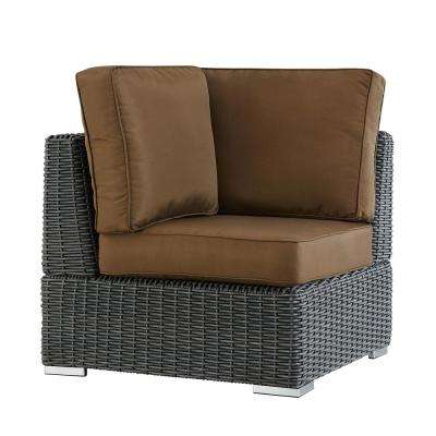 Camari Charcoal Wicker Corner Outdoor Sectional Chair with Brown Cushion