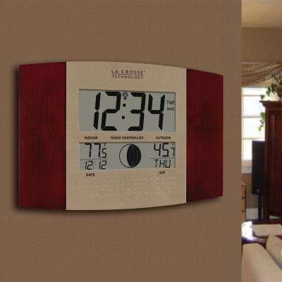 11-1/2 in. x 7-3/4 in. Digital Atomic Cherry Wall Clock with Moon Phase and Temperature