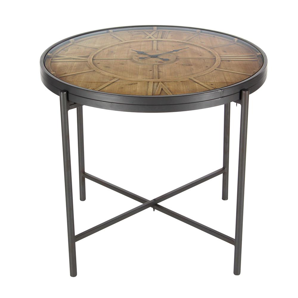 Litton Lane Stained Matte Brown Clock Coffee Table