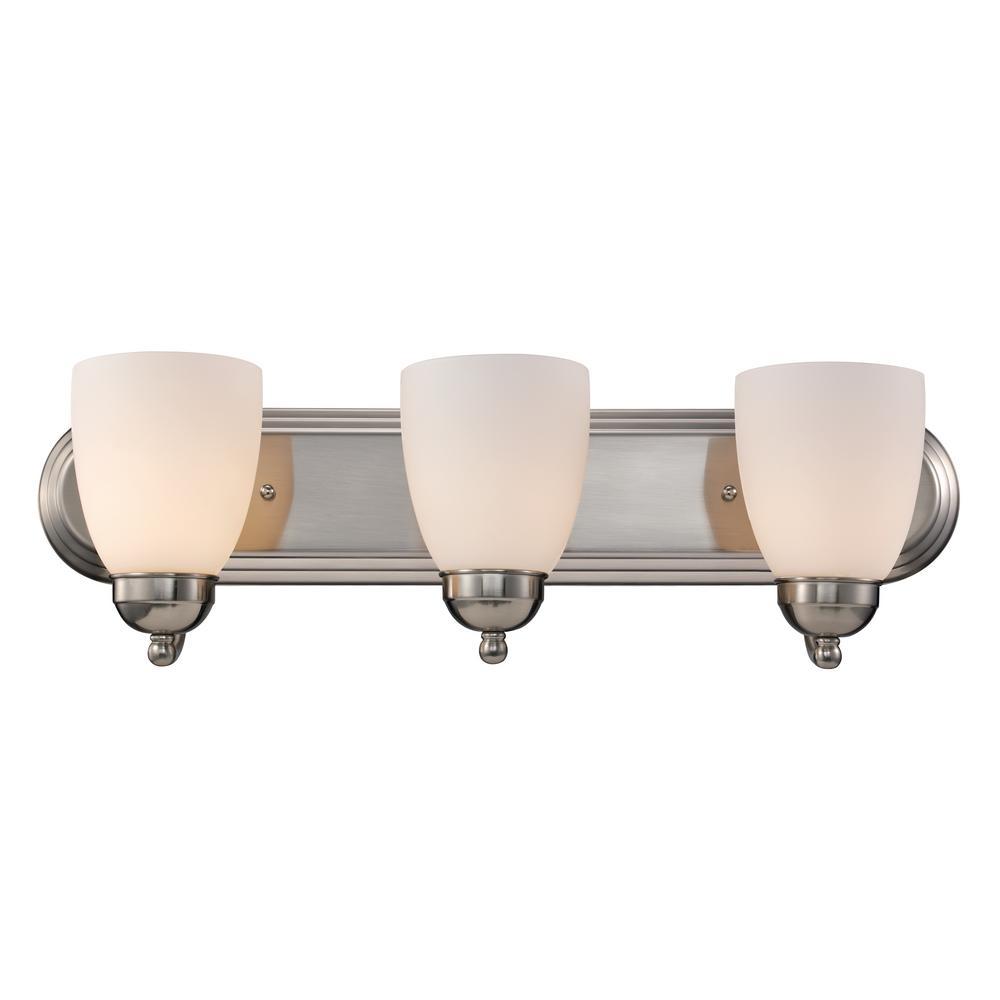 Clayton 3-Light Brushed Nickel Bath Light