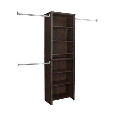 Impressions 14.57 in. D x 25.12 in. W x 82.46 in. H Chocolate Standard Laminate Closet System Kit