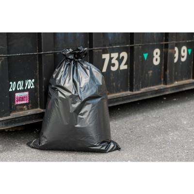 38 in. W x 58 in. H 55 Gal. - 60 Gal. 4.0 mil Black Gusset Seal Contractor Bags (32-Case)