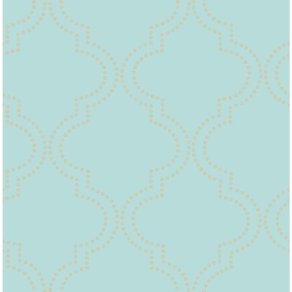 A-Street Tetra Turquoise Quatrefoil Wallpaper Sample 2625-21802SAM