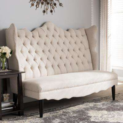 Witherby Traditional Beige Fabric Upholstered Loveseat