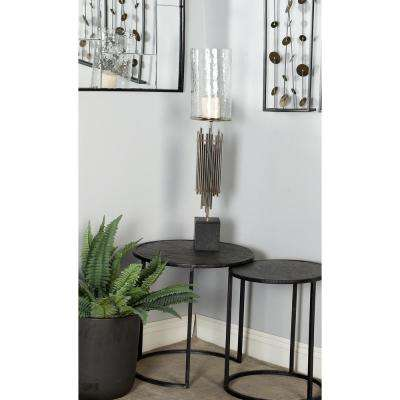 32 in. Silver Tubes Design Metal and Marble Candle Holder with Glass Hurricane