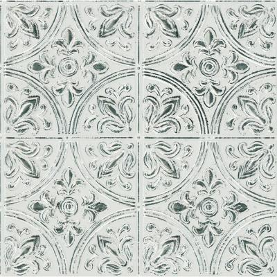 Chelsea Antique White Faux Metallic Tile Wall Decals
