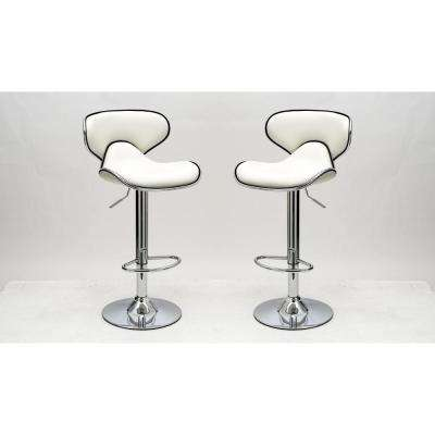 Classy Pablo White Barstool with Comfortable Seat Back (Set of 2)