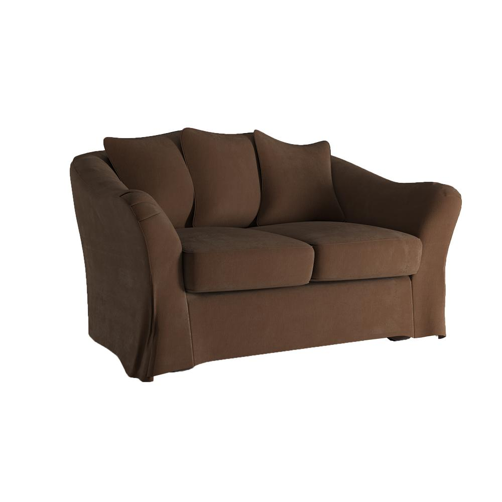 Homesullivan Sydney 1 Piece Brown Down Filled Slipcovered Loveseat