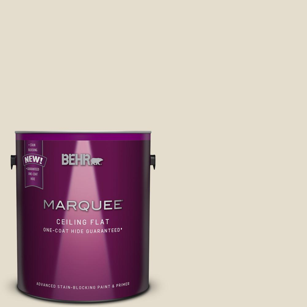 BEHR MARQUEE 1 gal. #MQ3-40 Tinted to Varnished Ivory One-Coat Hide Flat Interior Ceiling Paint and Primer in One