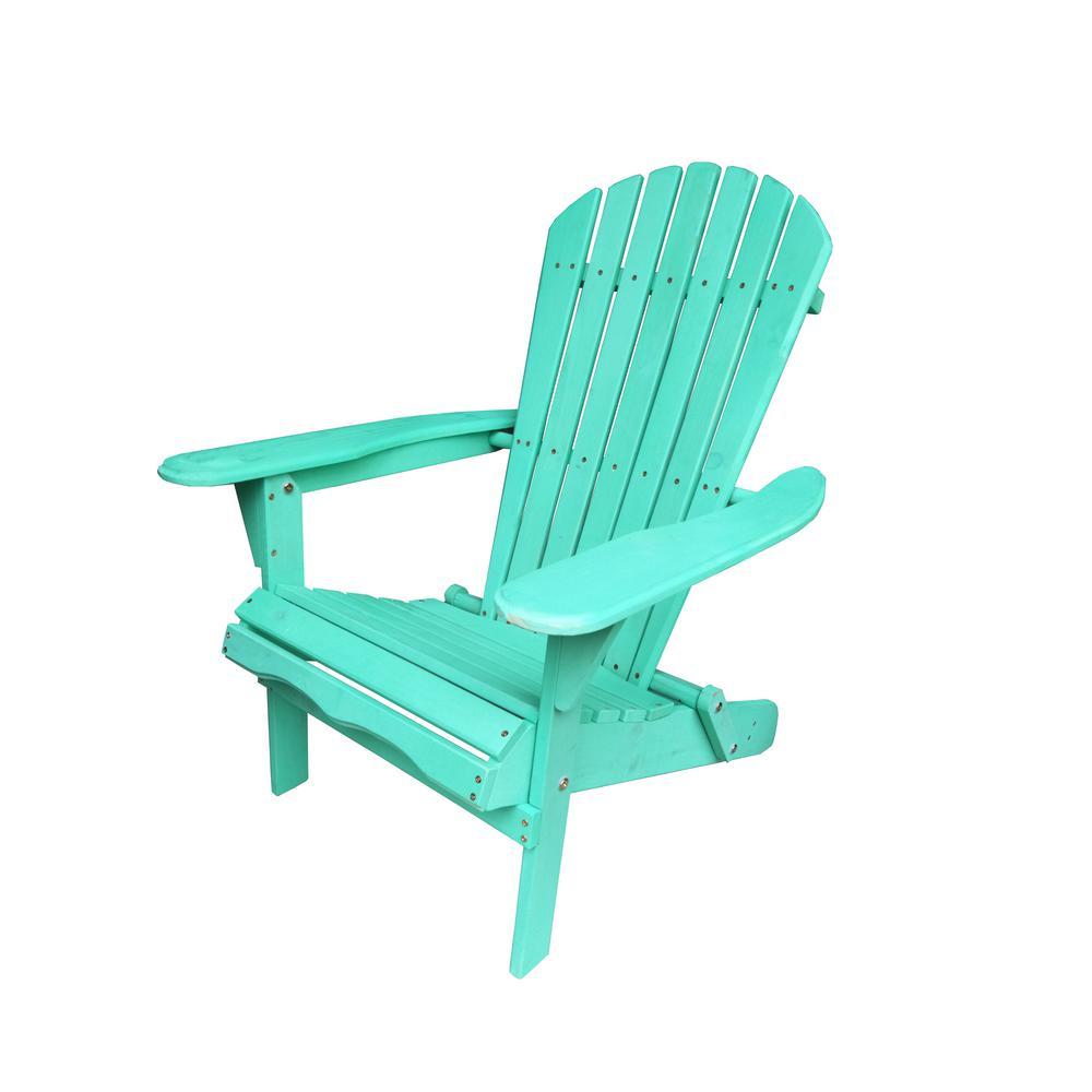 Villaret Green Folding Wood Adirondack Chair