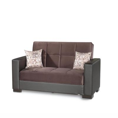 Ottomanson Armada brown Fabric Upholstery Love Seat with Storage