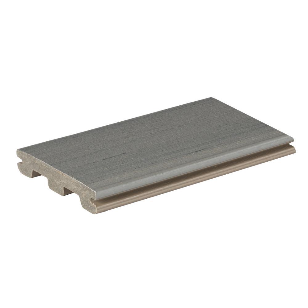 EDGE Prime + 1 in. x 5.36 in. x 1 ft. Sea Salt Gray Composite  Deck Board Sample
