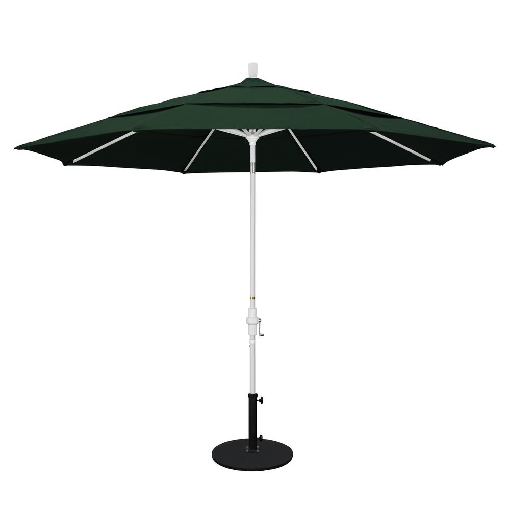 California Umbrella 11 ft. Aluminum Collar Tilt Double Vented Patio Umbrella in Hunter Green Pacifica