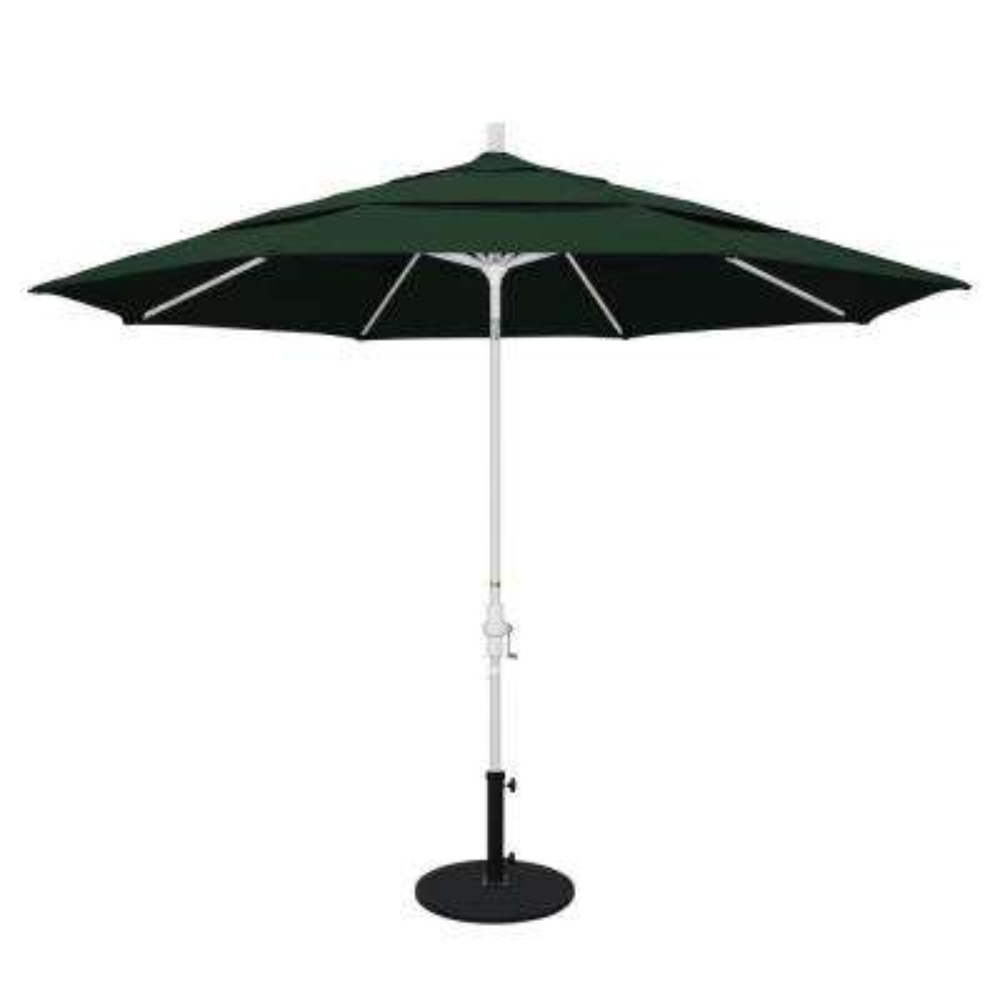 11 ft. Aluminum Collar Tilt Double Vented Patio Umbrella in Hunter Green Pacifica