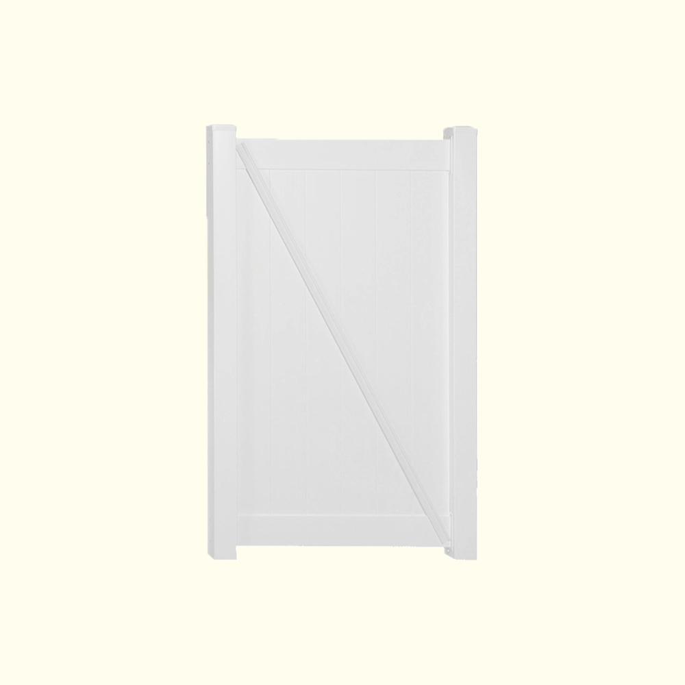 Pembroke 3.5 ft. W x 6 ft. H White Vinyl Privacy Fence Gate Kit