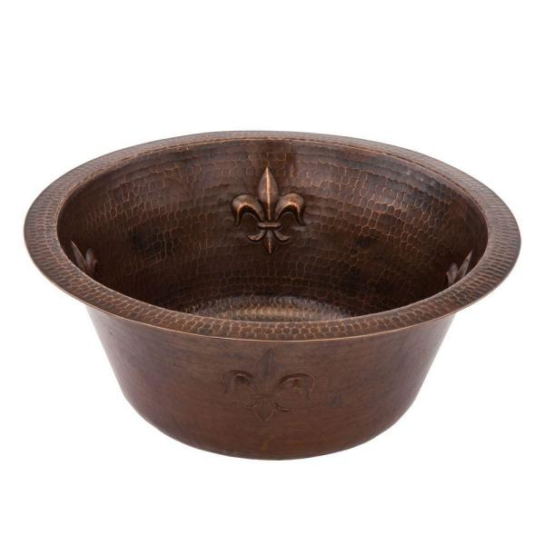 Dual Mount Round Copper 16 in. 0-Hole Fleur De Lis Bar/Prep Sink with 2 in. Drain Opening in Oil Rubbed Bronze