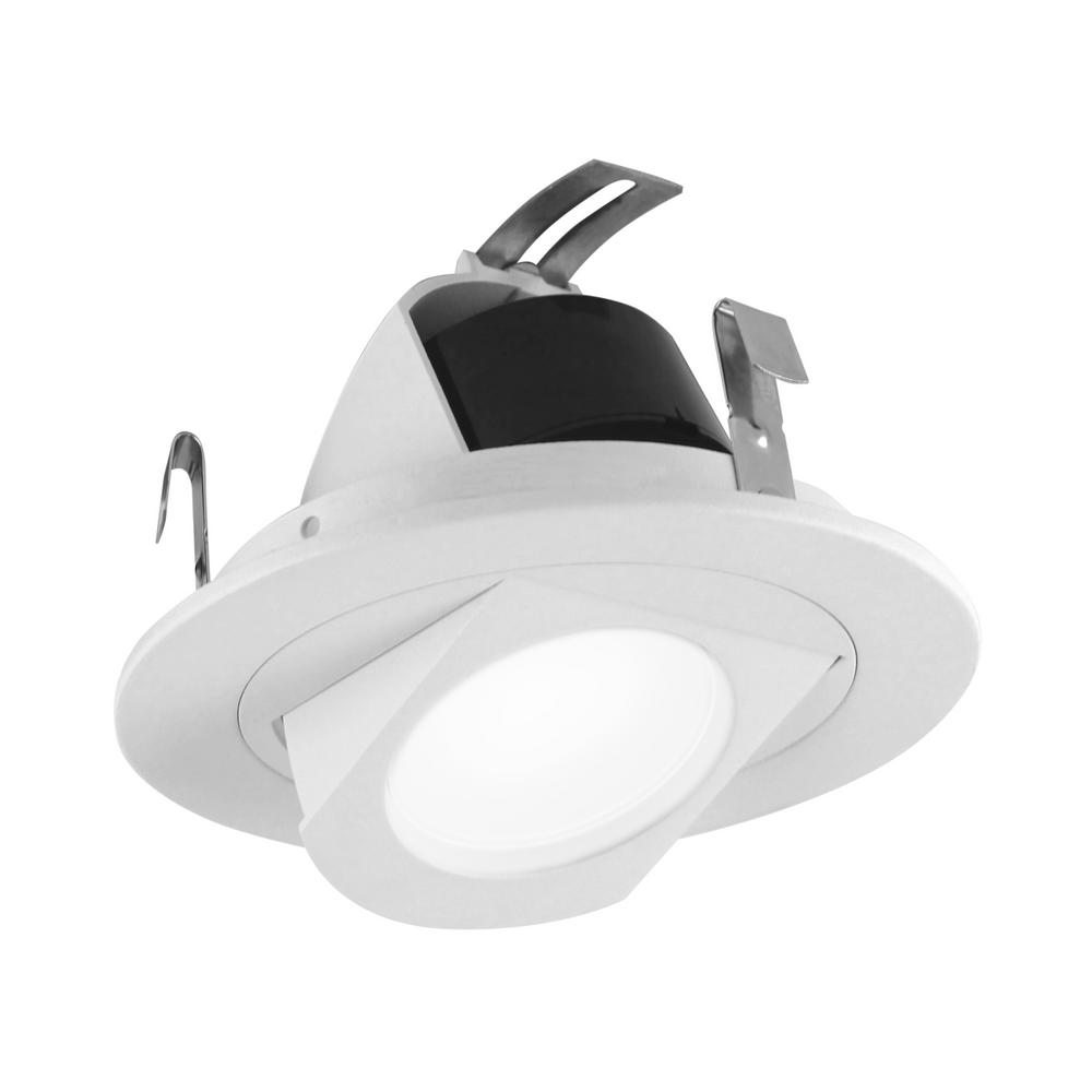 Nicor 4 In White Retractable Wall Wash Integrated Led Recessed Downlight Trim 4000k 90 Cri