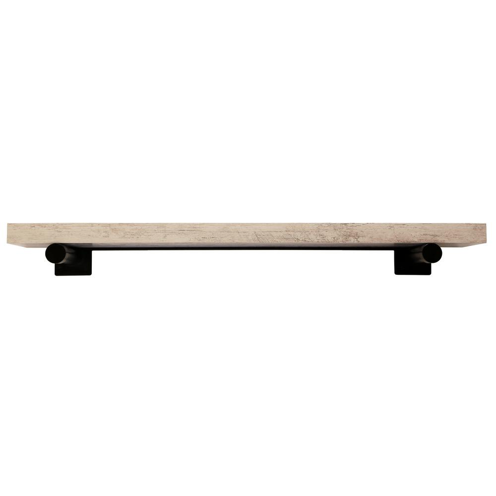 inPlace 36 in. W x 8 in. D x 1.5 in. H Distressed White Wall Mounted Rustic Shelf With Black Brackets