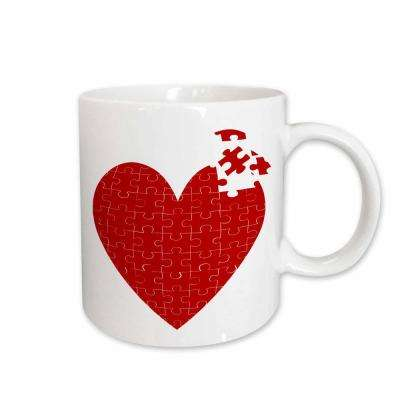 Anne Marie Baugh Hearts Large Red Heart Made Of Puzzle Pieces 11 oz. White Ceramic Coffee Mug