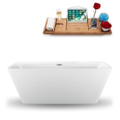 59.1 in. Acrylic, Fiberglass Flatbottom Non-Whirlpool Bathtub in Glossy White