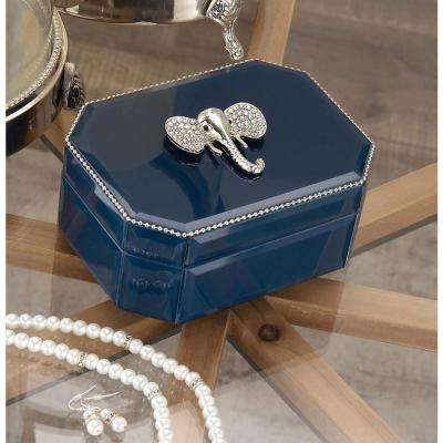 6 in. x 3 in. Wooden Blue and Silver Elephant Glass Box