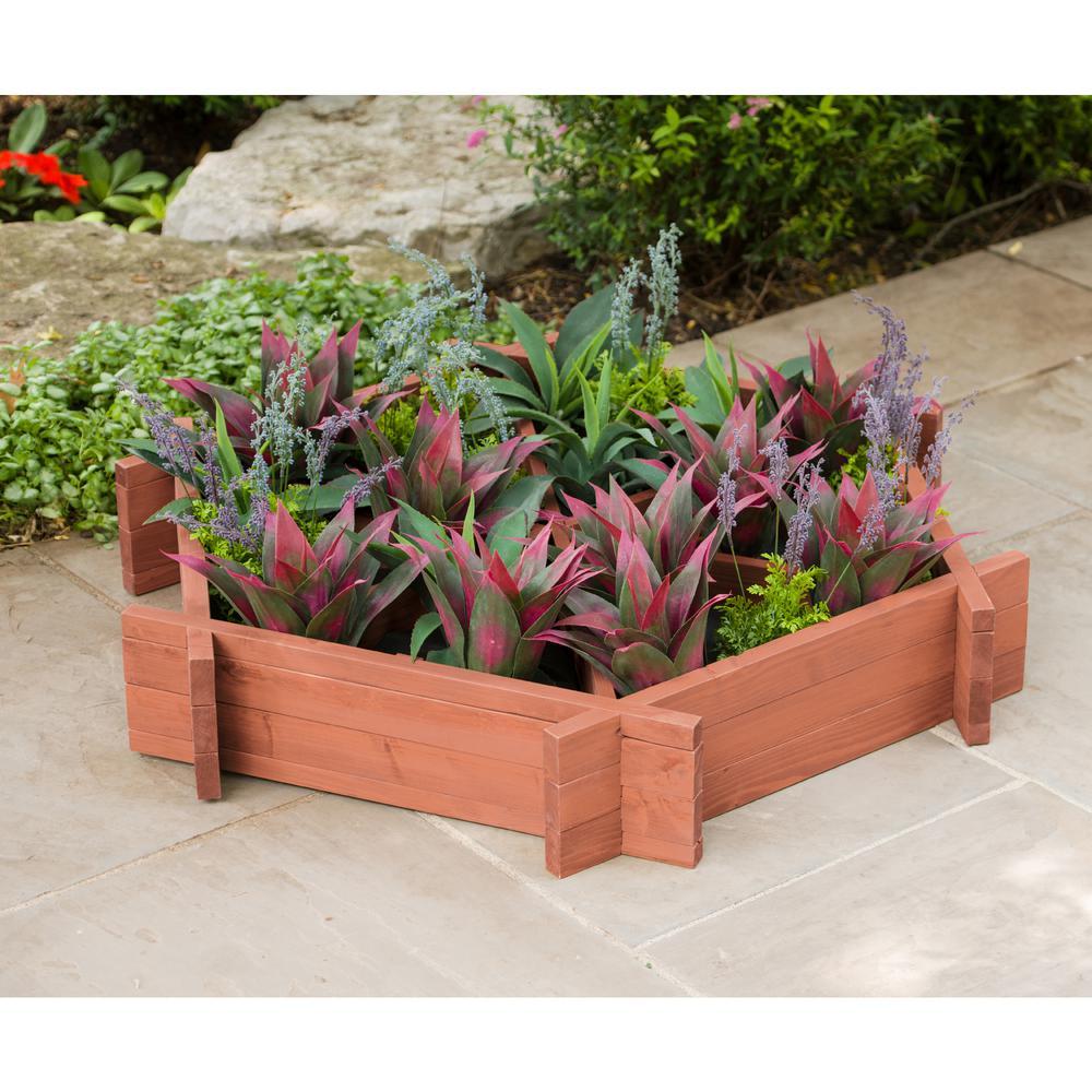 48 in. x 48 in. Medium Brown Solid Wood Hexagonal Raised Garden Bed