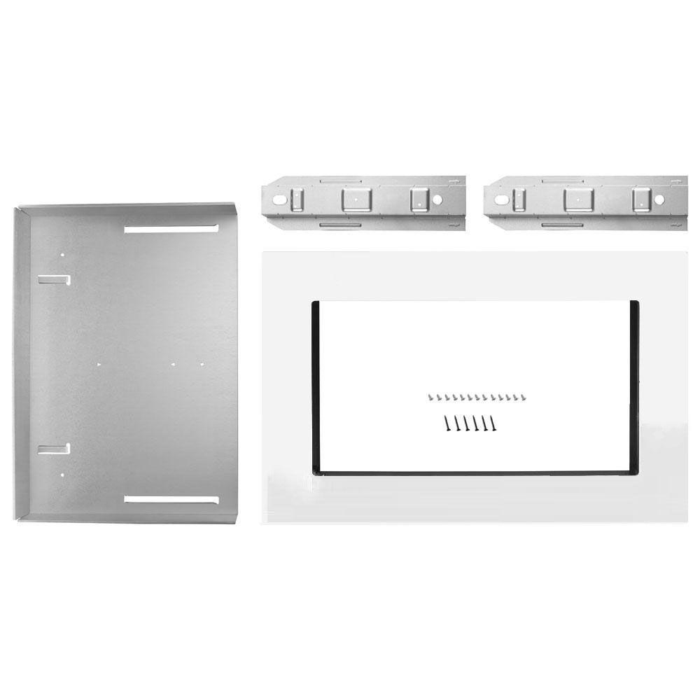 Maytag Co 30 in. Microwave Trim Kit in White Free-up counter space. This 30 in. Built-in trim kit can be installed over any (electric or gas) built-in wall oven, up to 30 in. Its streamline design gives it a modern look. Color: White.