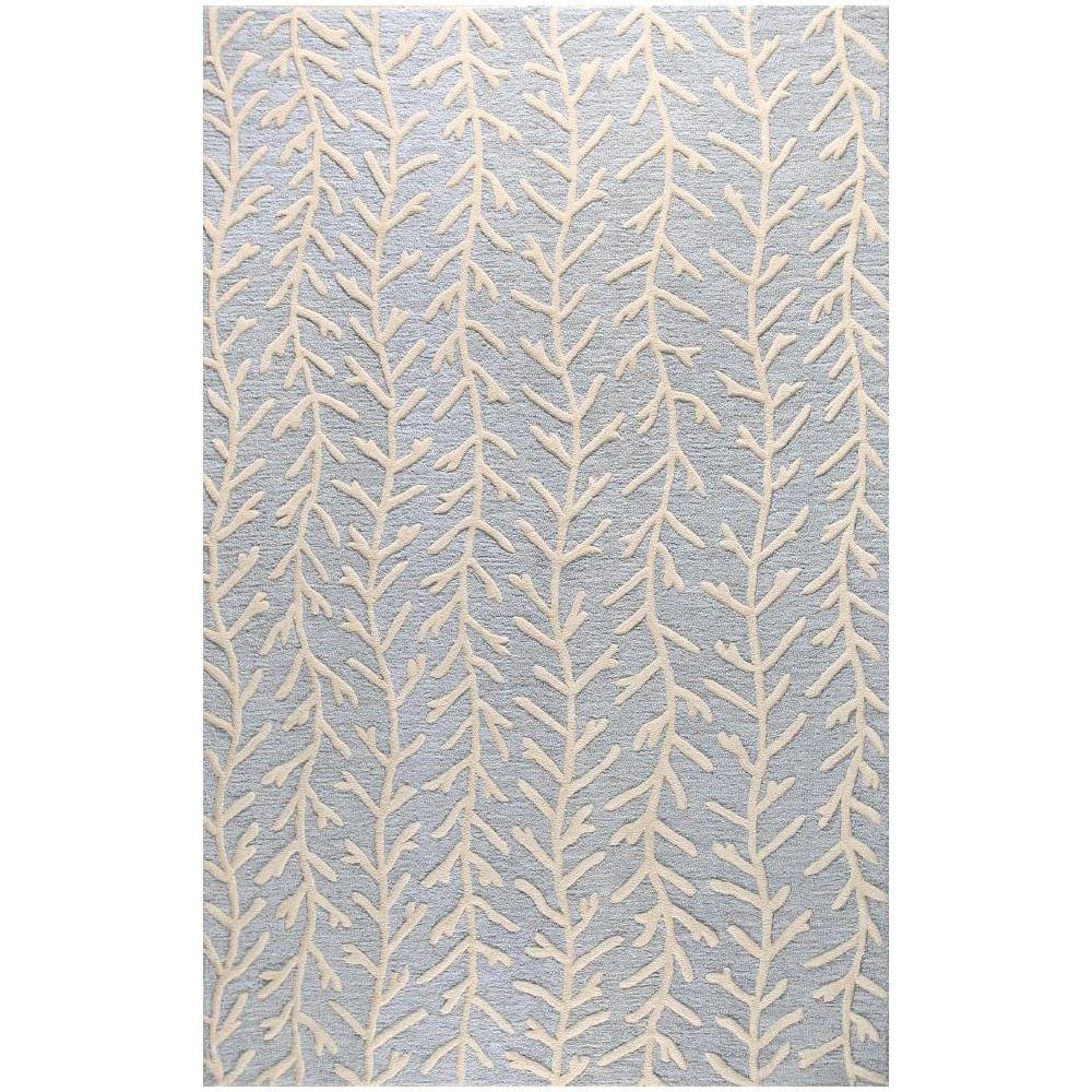 BASHIAN Verona Collection Raining Vines Light Blue 3 ft. 6 in. x 5 ft. 6 in. Area Rug