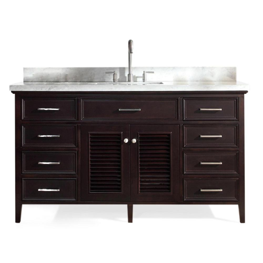Ariel Kensington 61 in. Bath Vanity in Espresso with Marble Vanity Top in Carrara White with White Basin