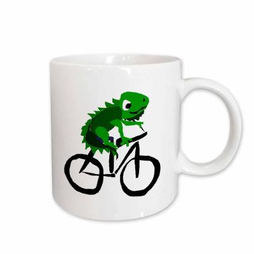 All Smiles Art Reptiles and Amphibians Funny Green Iguana Riding Bicycle Primitive Art 11 oz. White Ceramic Coffee Mug