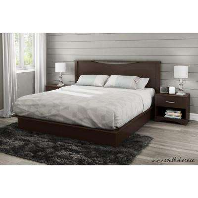 step one 2drawer kingsize platform bed in chocolate