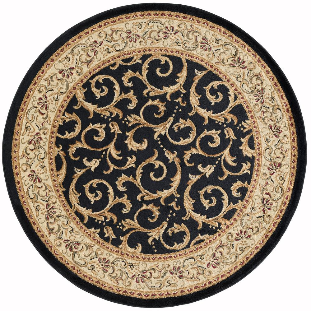 Tayse Rugs Elegance Black 8 Ft X 8 Ft Round Indoor Area