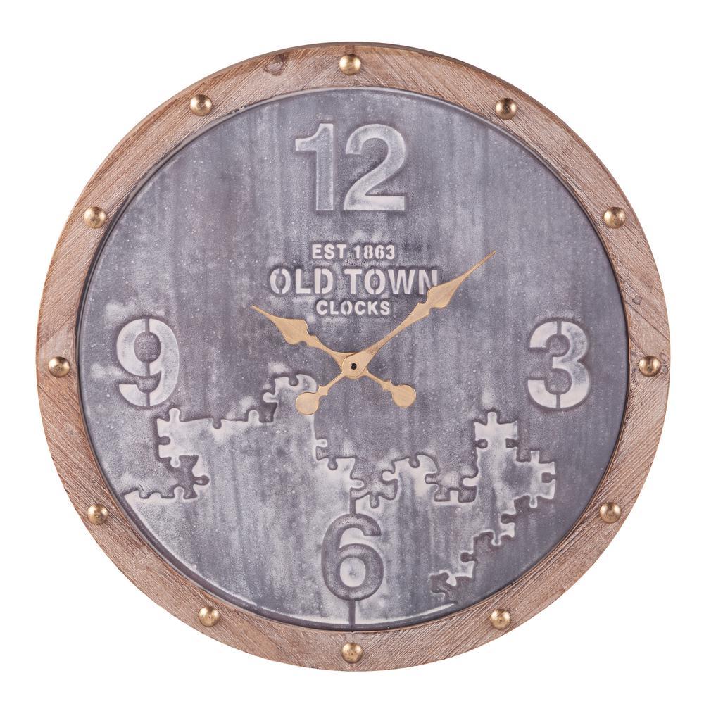 Grimmea Graywash and Natural Finish Decorative Wall Clock