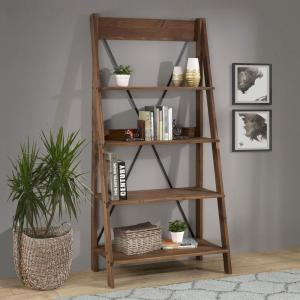 68 in. Brown Wood 4-shelf Ladder Bookcase with Open Back