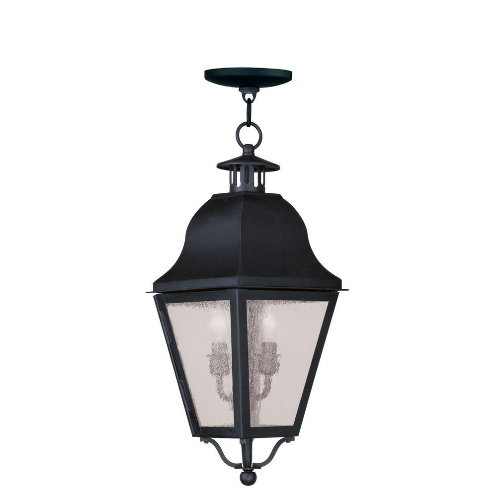 Livex Lighting Providence 2-Light Black Outdoor Incandescent Hanging Lantern