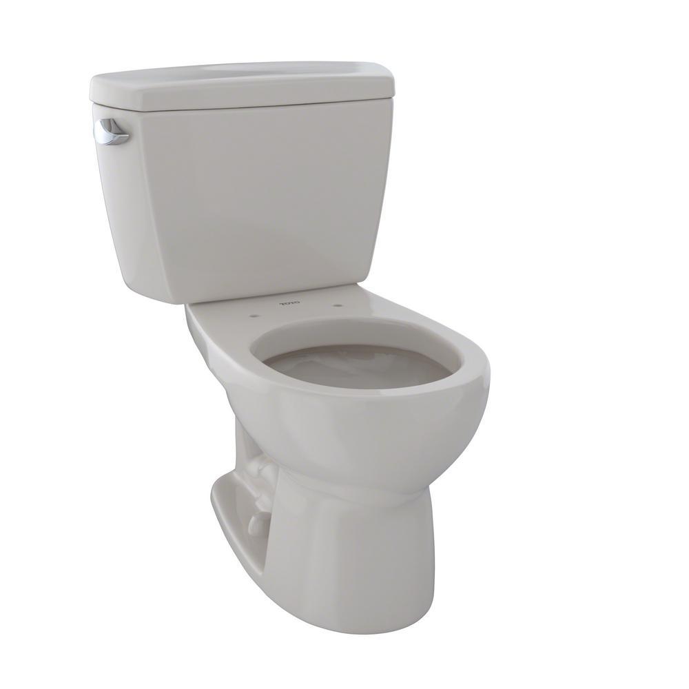 TOTO Drake 2-Piece 1.6 GPF Single Flush Round Toilet in Sedona Beige
