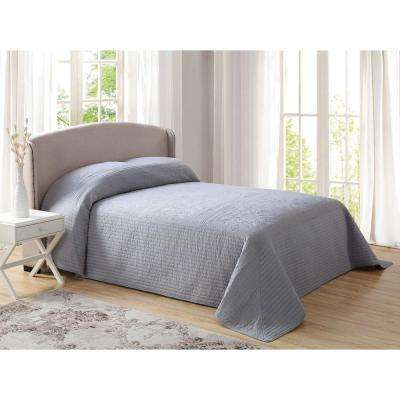 French Tile Quilted Gray Full Bedspread