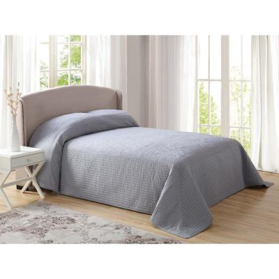 French Tile Quilted Gray King Bedspread