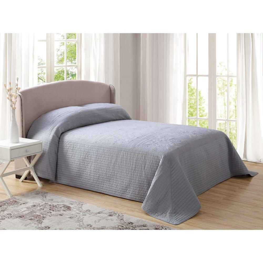 French Tile Quilted Gray Queen Bedspread