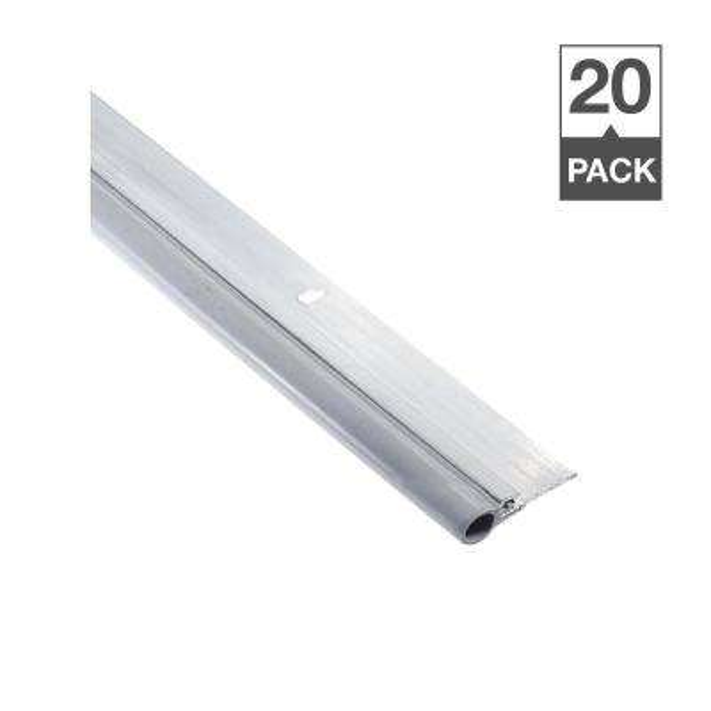 Low Temperature 1-1/4 in. x 84 in. Gray TPR Bulb and Aluminum Screw On Door Weatherstrip Set Contractor Pack of 20