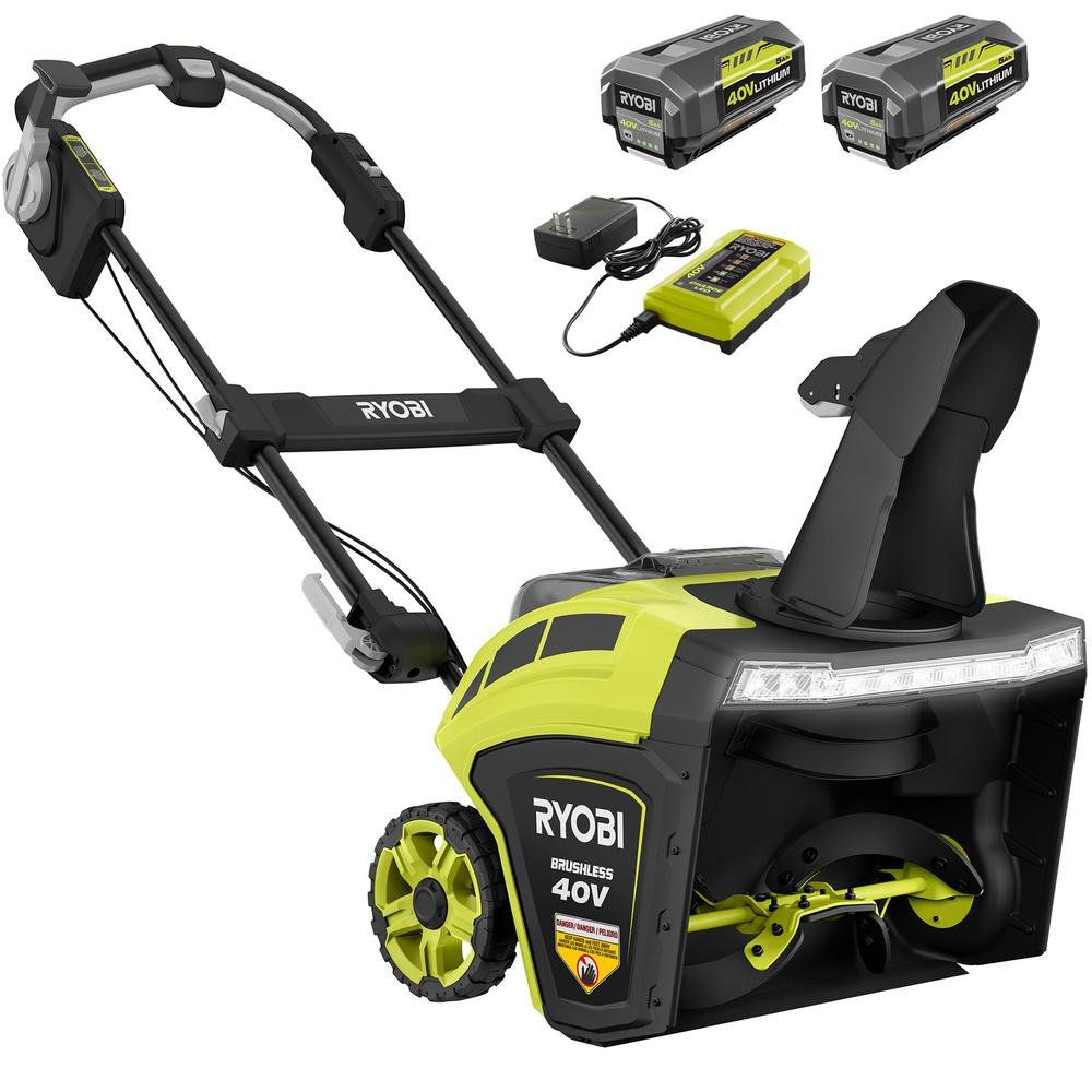 RYOBI 21 in. 40-Volt Brushless Cordless Electric Snow Blower with Two 5.0 Ah Batteries and Charger Included