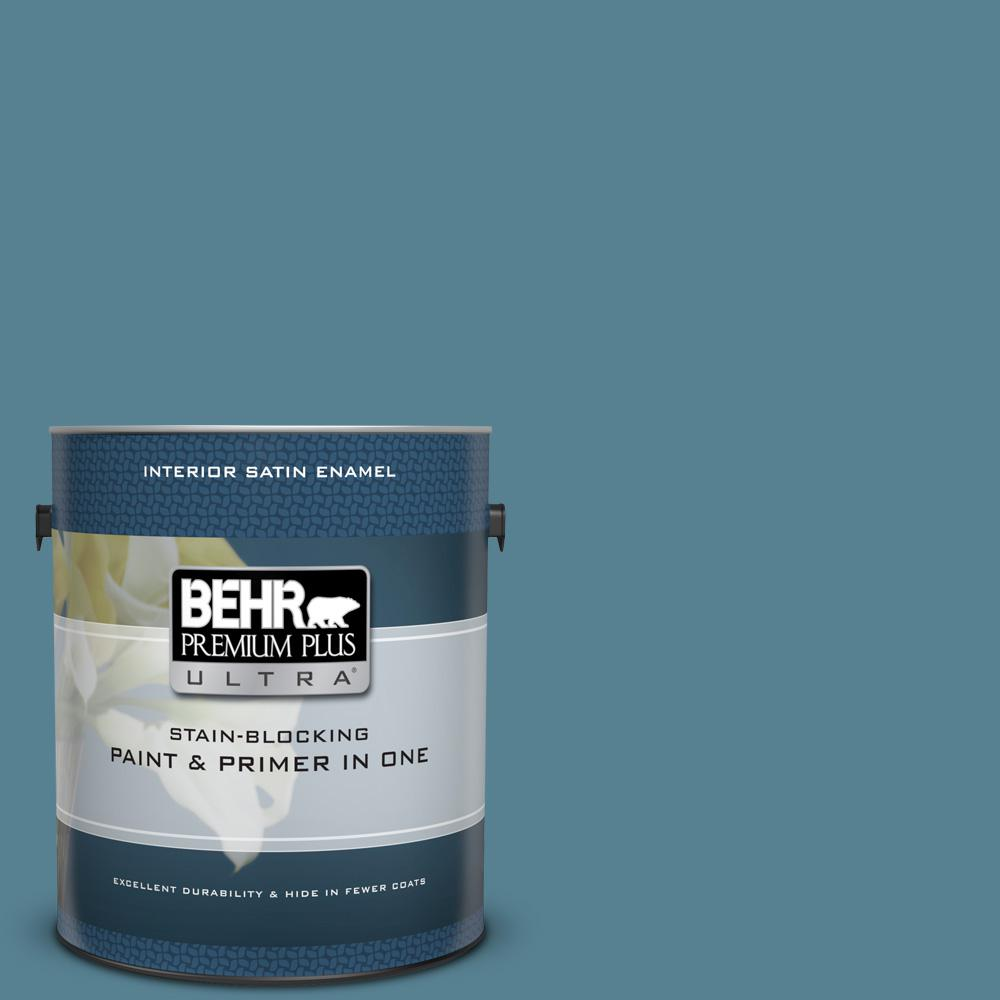BEHR Premium Plus Ultra 1 gal. #S470-5 Blueprint Satin Enamel Interior Paint and Primer in One